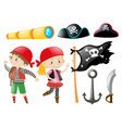 pirate set with pirates and other elements vector image