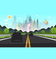 road with cars silhouettes and city on background vector image vector image