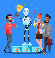 robot winner stands on first place of podium among vector image vector image
