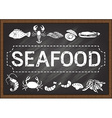 Seafood on chalkboard