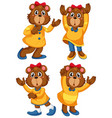 set bear cartoon character vector image vector image