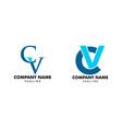set initial letter cv logo design vector image vector image