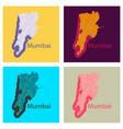 set of flat icon map of mumbai vector image vector image