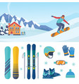 ski and snowboarding set stylish descent boards vector image
