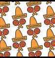 sombrero hat maracas mexico culture pattern image vector image vector image