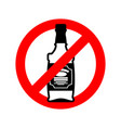 stop alcohol bottle of whiskey on red circle road vector image vector image