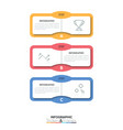 three multicolored rectangular elements with text vector image vector image