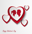 Valentine card with hearts and lovers vector image vector image