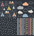 wild and free teepees trees cloud pattern set vector image vector image