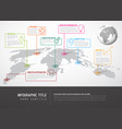 world map with pointer marks and iconsconcept vector image vector image