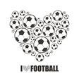 Heart from the footballs I love Football vector image