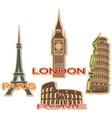 Set of cities symbols vector image