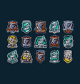 A large colorful collection emblems logos
