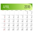 April 2016 planning calendar vector image vector image