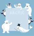 Arctic Animals Characters Show Presentation Frame vector image