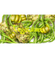 artichokes green peas and tomatoes watercolor vector image vector image
