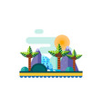 beautiful landscape with tropical plants and trees vector image