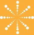 big white snowflake circle on yellow background vector image