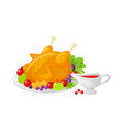 bird poultry cooked meal on thanksgiving vector image vector image