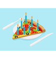 Birthday Pizza with candles isometrics Fast food