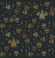 carnival theater masks seamless pattern vector image vector image