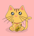 cartoon cat lucky cat pink background image vector image