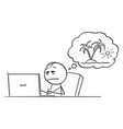 cartoon tired overworked or stressed man or vector image