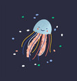 charming smiling jellyfish isolated on dark vector image vector image
