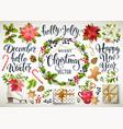 christmas set design composition poinsettia vector image vector image