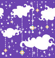 clouds and garlands in shape star xmas pattern vector image