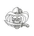 cowboy pirate skull biting dagger mosaic vector image vector image