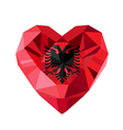 crystal gem jewelry Albanian heart with the flag vector image vector image