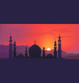 dark mosque silhouette on colorful red and violet vector image