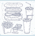 doodle set fast food hot dog drinks and vector image vector image