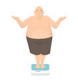 fat man stands on bathroom scale vector image vector image