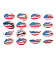 Flags of the USA in sensuality lips set women vector image vector image