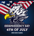 flat background with eagle head for usa vector image vector image