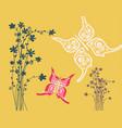 flowers with butterflies paper cut flat design vector image