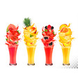 fruit in juice splashes strawberry guava vector image vector image