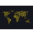 Golden sparkles World map vector image vector image