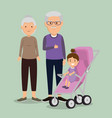 grandparents couple with baby avatars characters vector image vector image