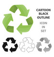 green recycling sign icon in outline style vector image vector image