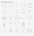 gym set style line icons on white vector image vector image