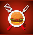 hamburger food with fork and slice utensils vector image vector image