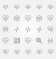 heartbeat icons set - cardiac cycle line vector image