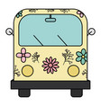 hippie van with floral print icon vector image