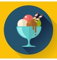 Ice Cream in glass cup icon Flat designed vector image vector image