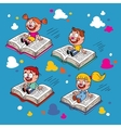 kids flying on books vector image vector image