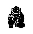 laughing buddha black glyph icon vector image vector image