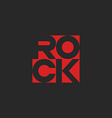 Lettering word rock musical logo red mockup music vector image